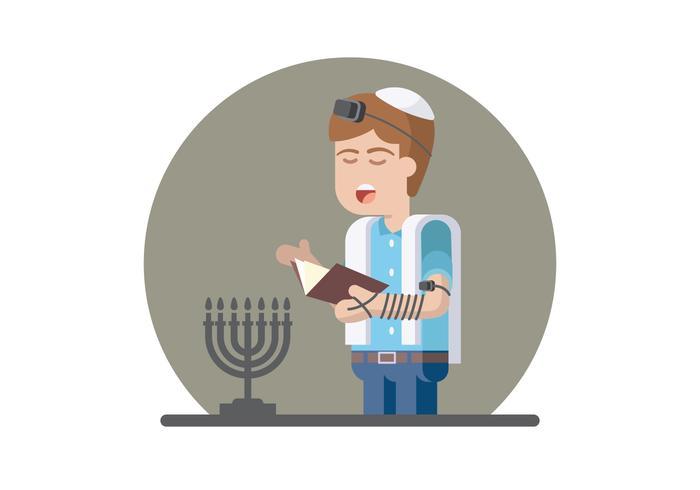 Illustration de prière juive vecteur