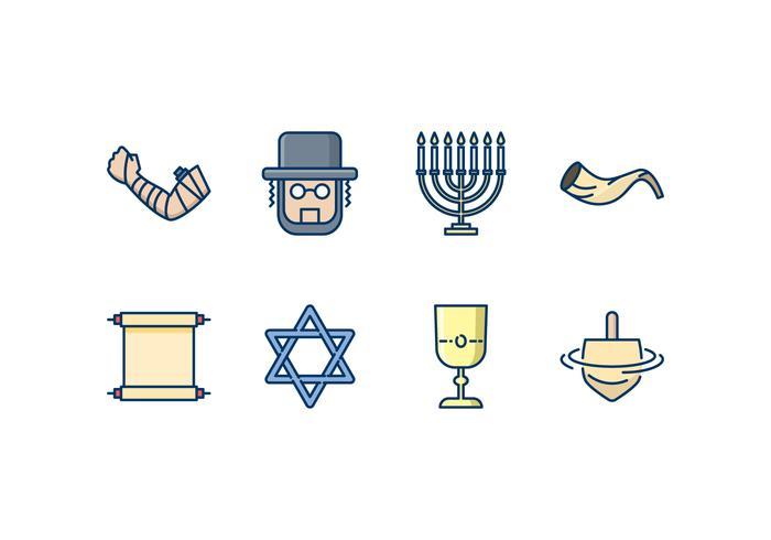Ensemble d'icônes juives vecteur