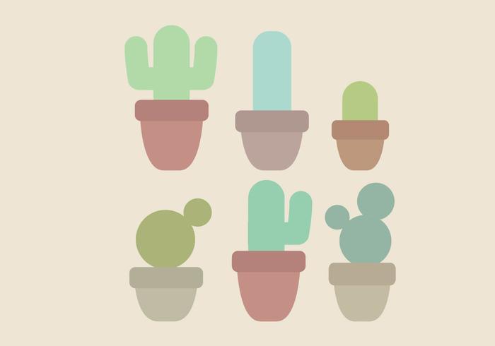 Ensemble de cactus minimaliste vectoriel