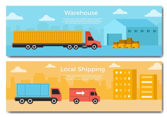 Vecteur de bannière de camion de livraison gratuite
