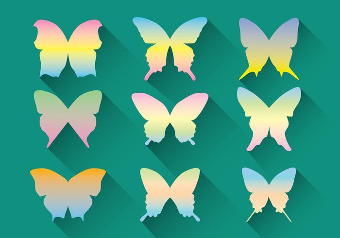 Paquet vectoriel de papillons pastel