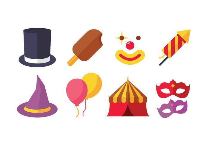 Pack d'icônes de carnaval vecteur