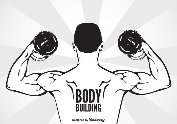 Bodybuilder Avec Dumbbell Flexing Muscles vecteur