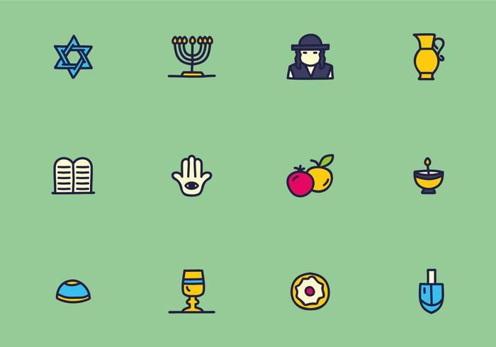 Vecteurs colorés d'icônes du judaïsme vecteur
