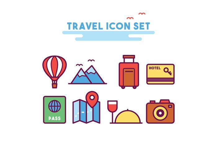 Ensemble d'icônes de voyage vecteur