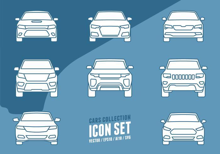 Icônes de collection de voitures vecteur