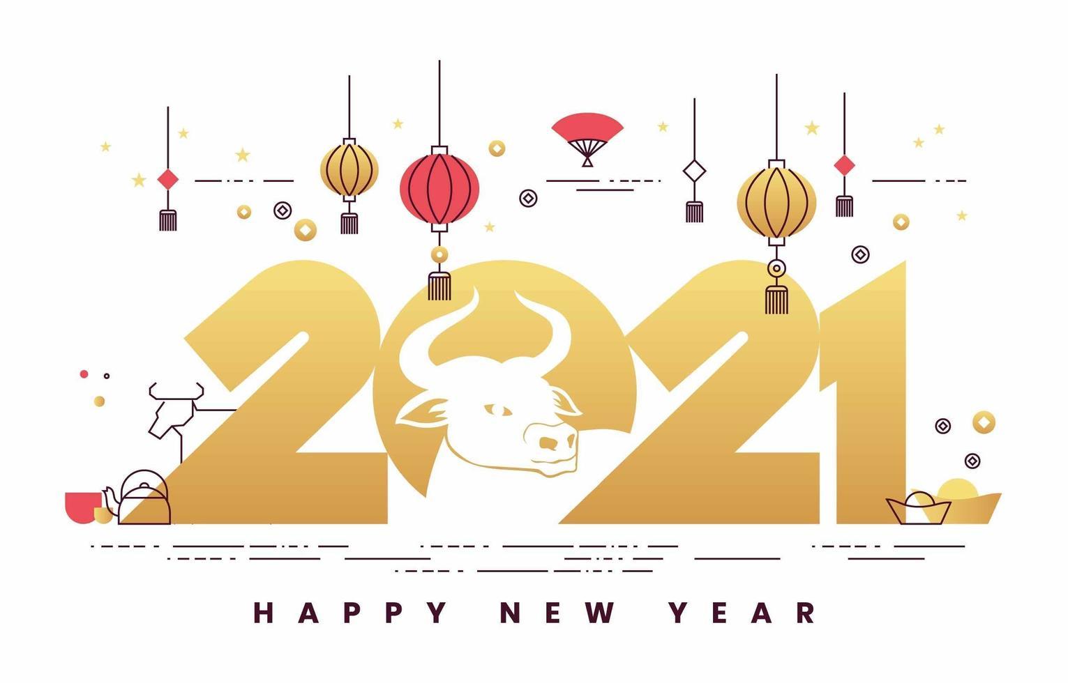 concept minimaliste du nouvel an chinois 2021 vecteur