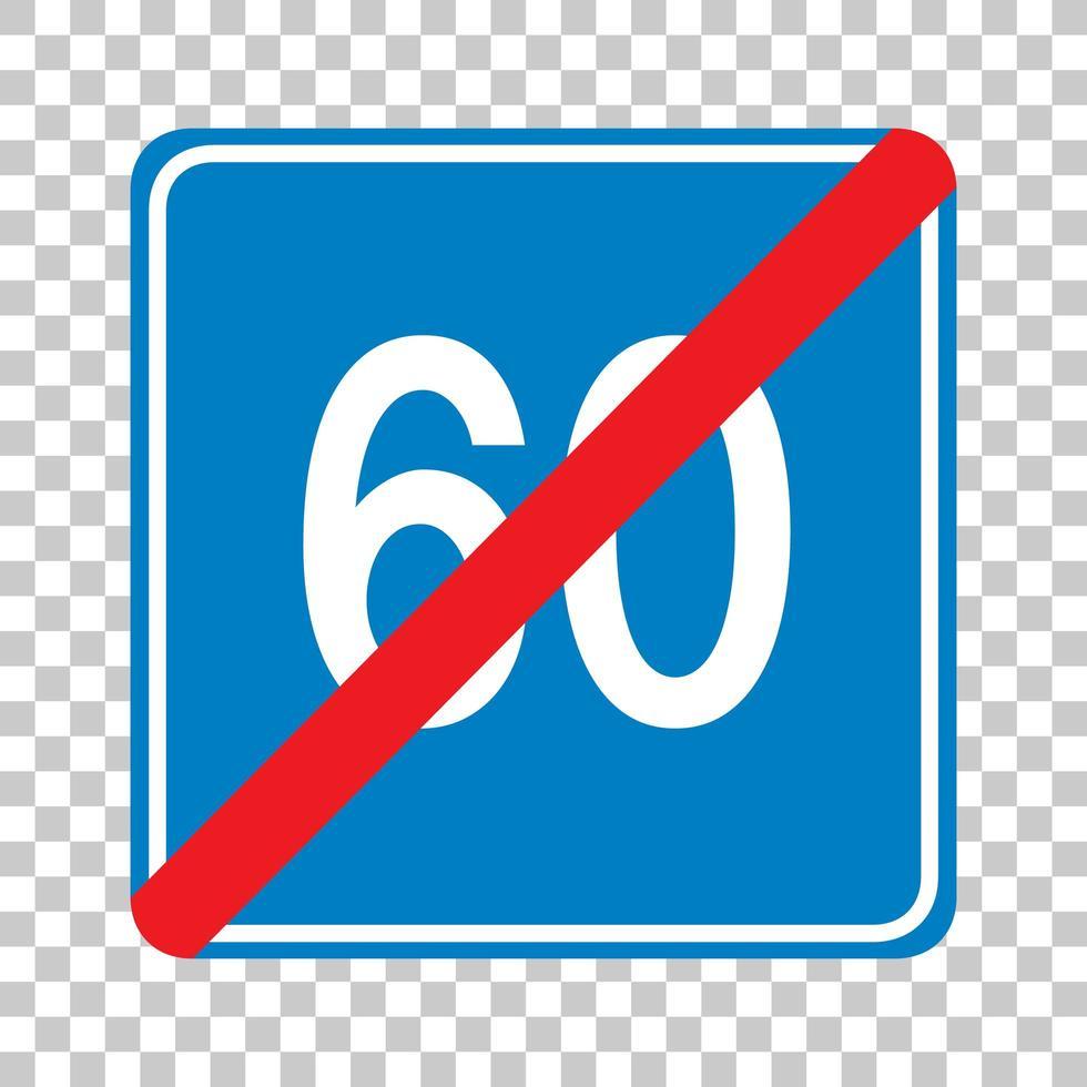 Panneau de signalisation de limite de vitesse minimale bleue 60 isolé sur fond transparent vecteur