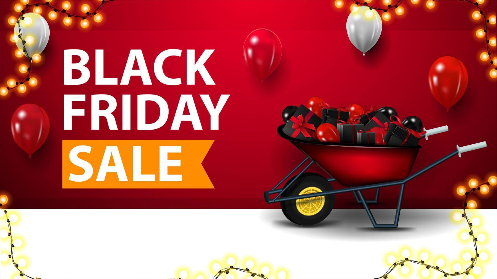 vente vendredi noir, bannière de réduction rouge vecteur