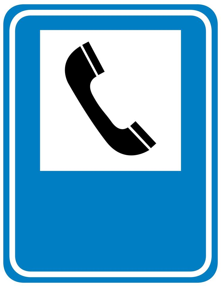 panneau de signalisation téléphonique isolé sur fond blanc vecteur