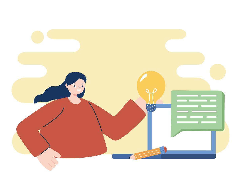 femme avec ordinateur portable et ampoule vecteur