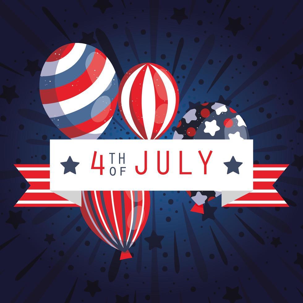 Bannière de célébration du 4 juillet avec des ballons vecteur