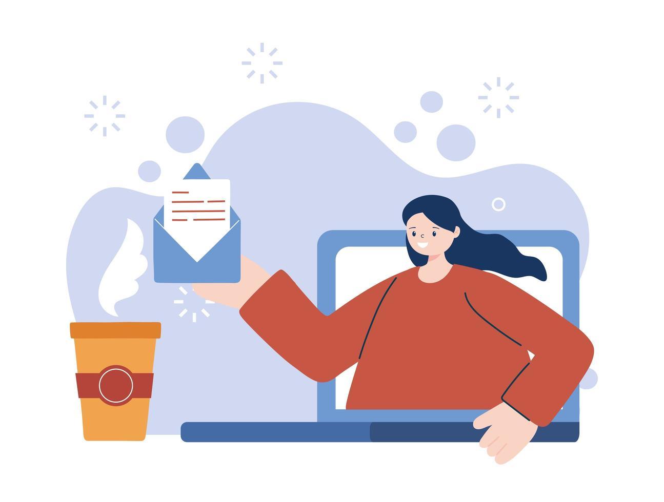 femme avec ordinateur portable et enveloppe vecteur