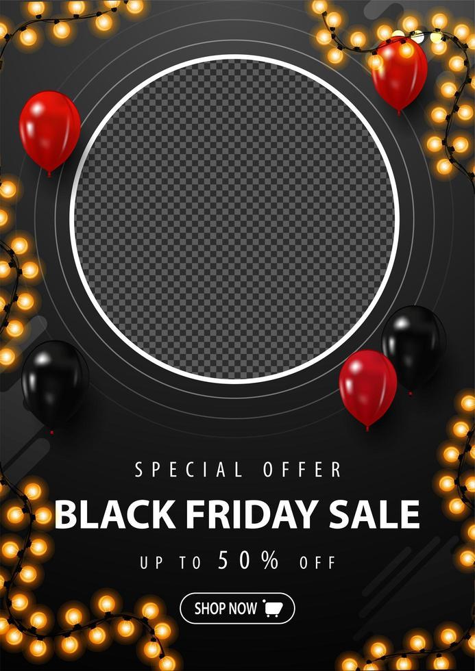 vente vendredi noir, bannière de réduction verticale noire vecteur