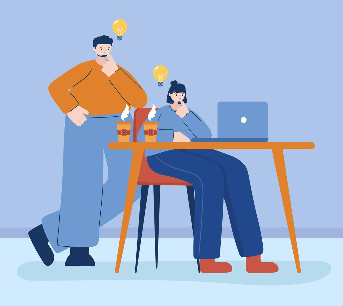 jeunes sur ordinateur ayant des idées vecteur