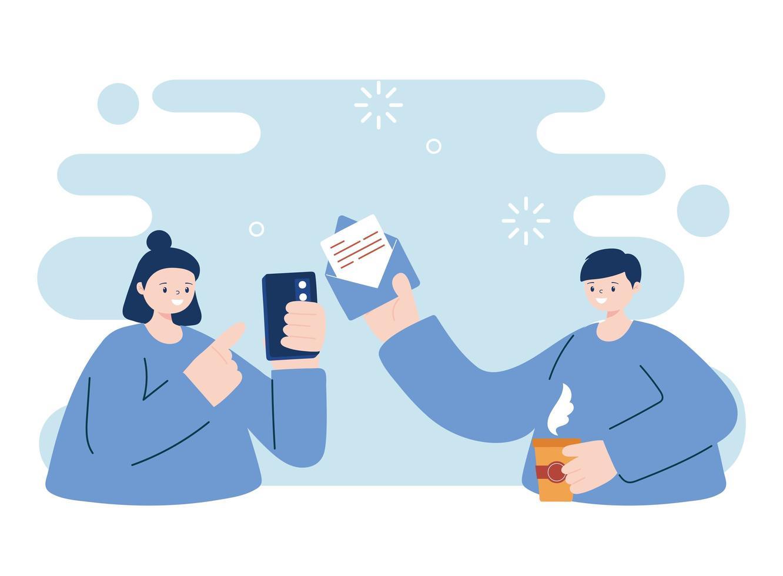 jeunes avec smartphone et enveloppe vecteur