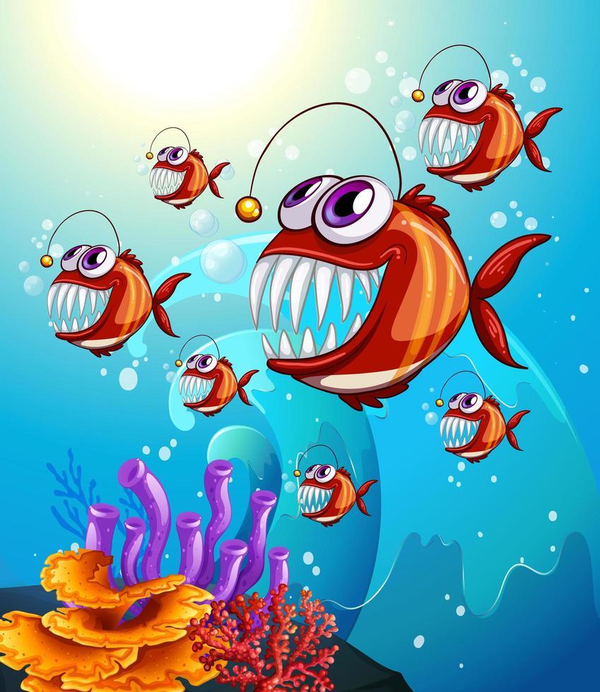 Personnage de dessin animé de poissons pêcheurs dans la scène sous-marine avec des coraux vecteur