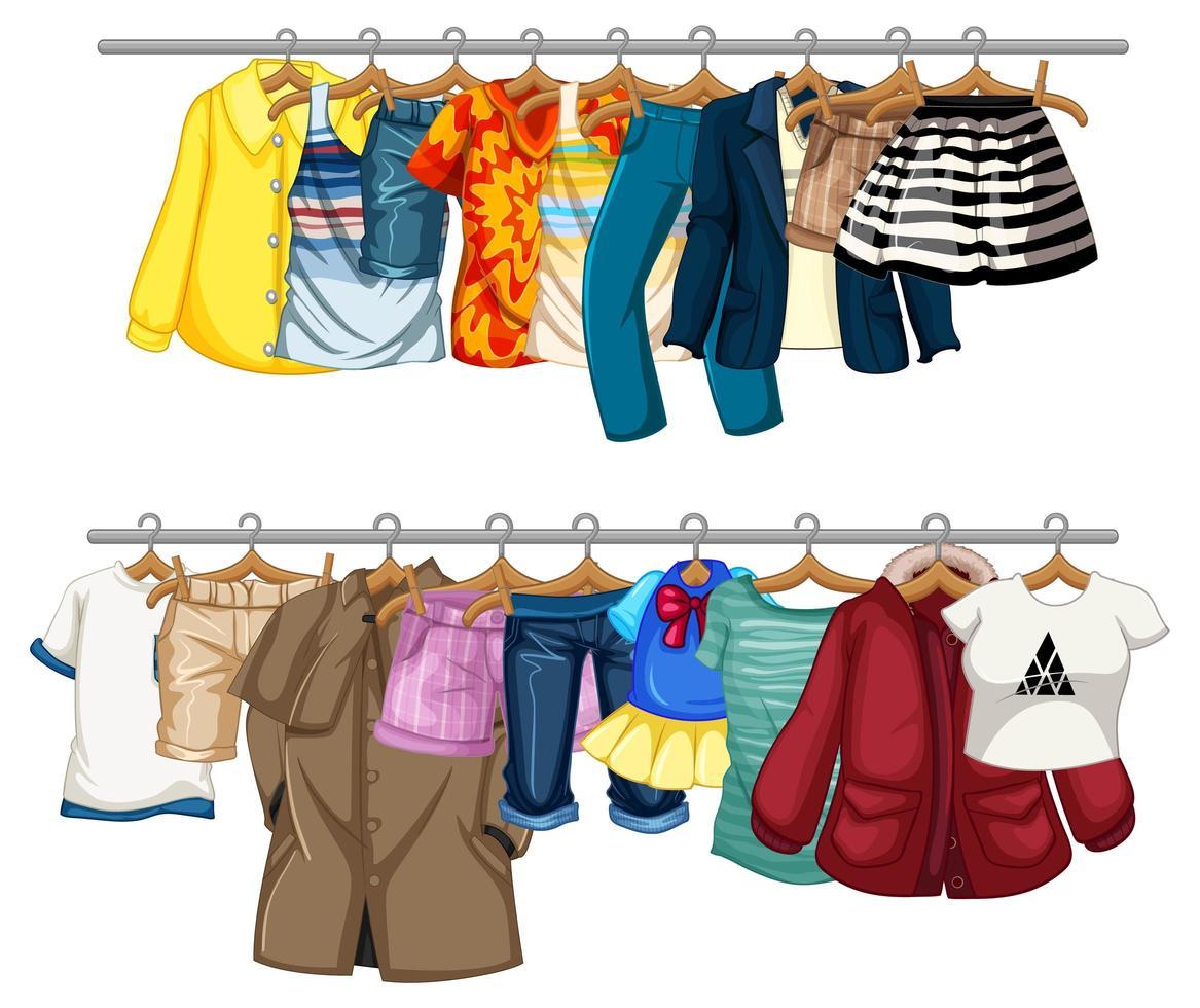 De nombreux vêtements suspendus sur une ligne sur fond blanc vecteur