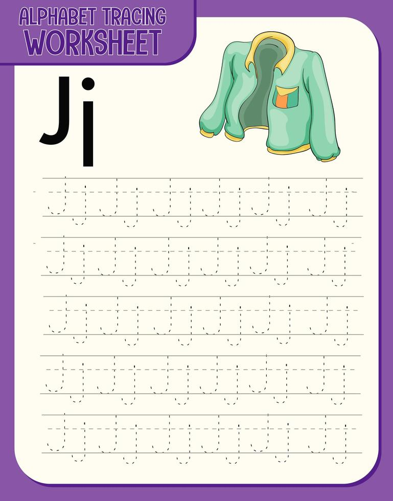 feuille de calcul de traçage alphabet avec lettre j et j vecteur