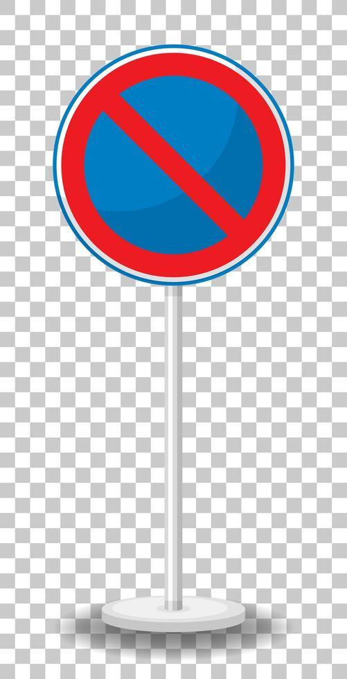 Aucun panneau de signalisation de stationnement avec support isolé sur fond transparent vecteur
