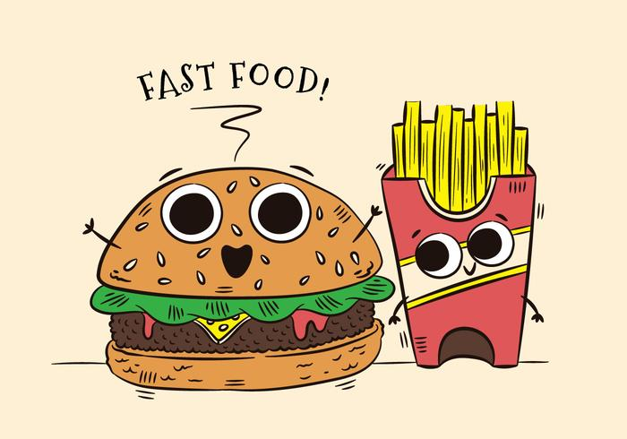Cute Burger And Fries Character Fast Food vecteur
