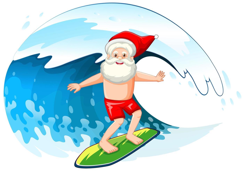 le père noël surfant sur la vague de l'océan pour l'été noël vecteur