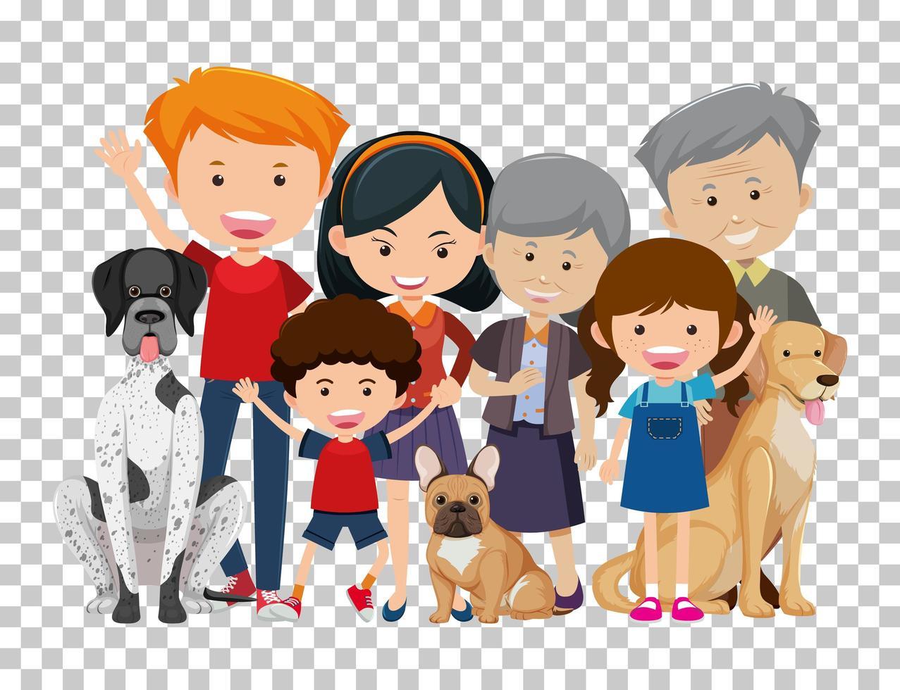 Vieux couple et petit-enfant avec leurs chiens de compagnie isolés sur fond transparent vecteur