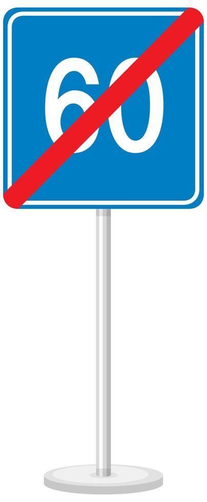 Panneau routier bleu limite de vitesse minimale 60 isolé sur fond blanc vecteur