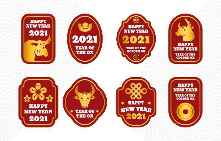 collection d'étiquettes de bœuf doré du nouvel an chinois simple vecteur