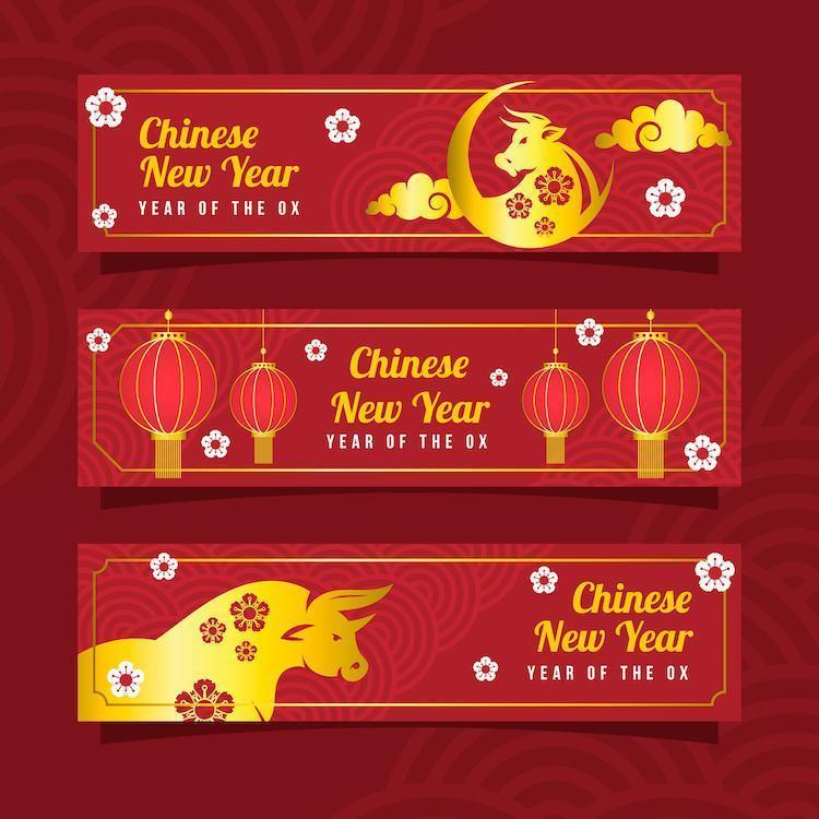 bannière du nouvel an chinois du bœuf doré vecteur