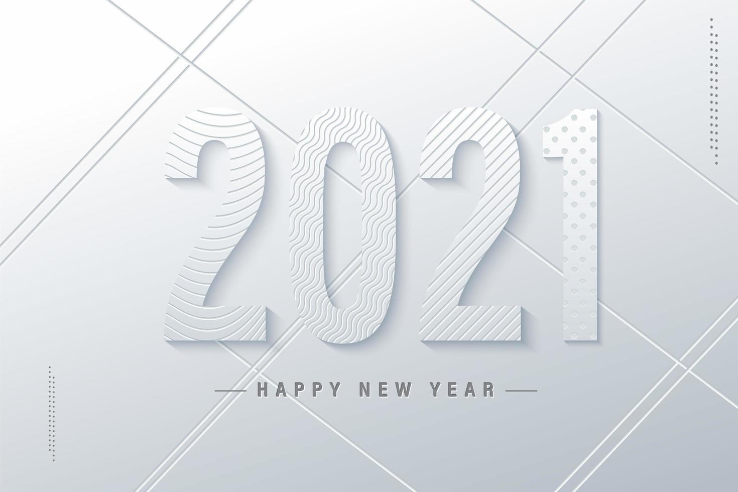 bonne année blanche 2021 vecteur