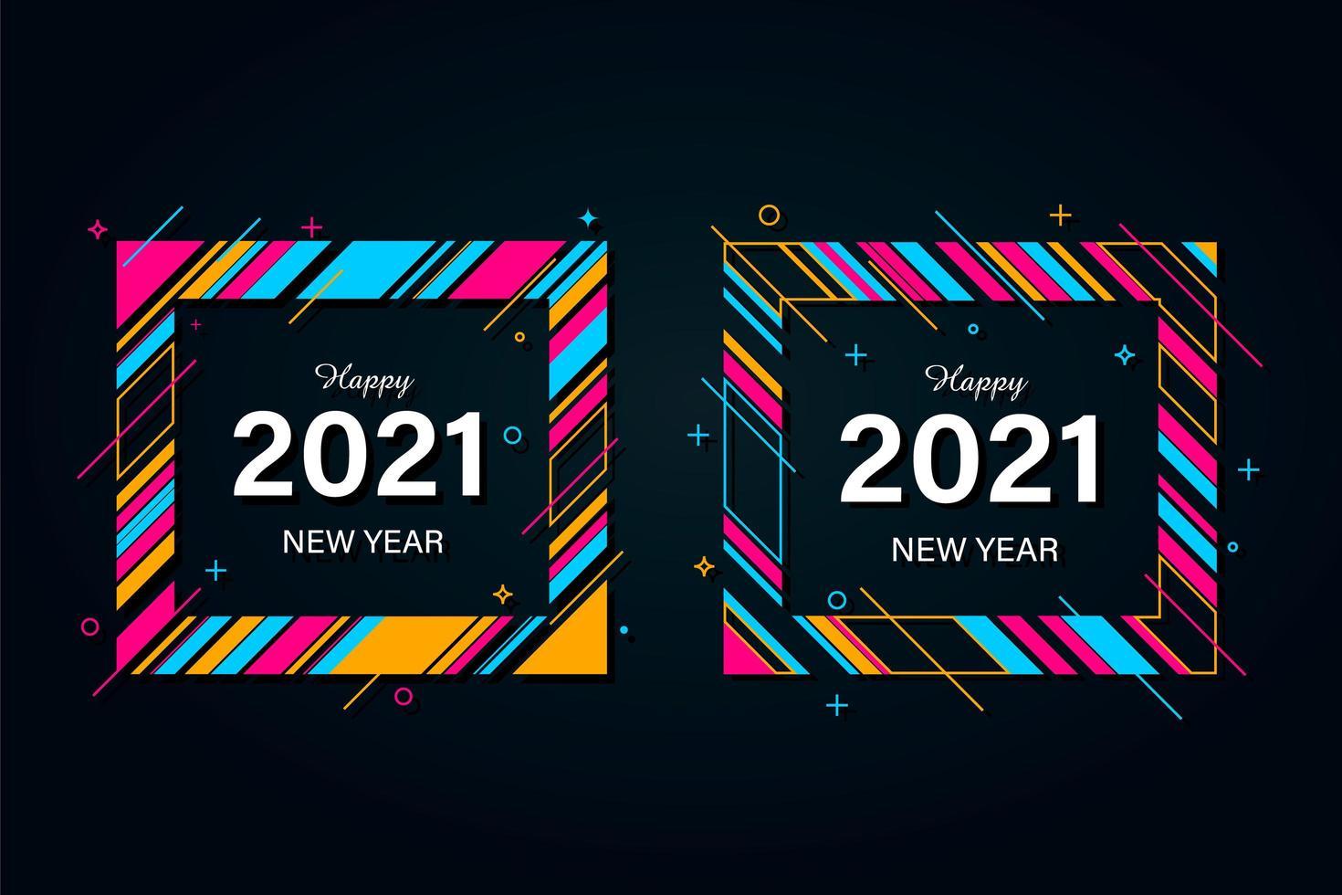 Ensemble de cartes de fond de nouvel an 2021 vecteur