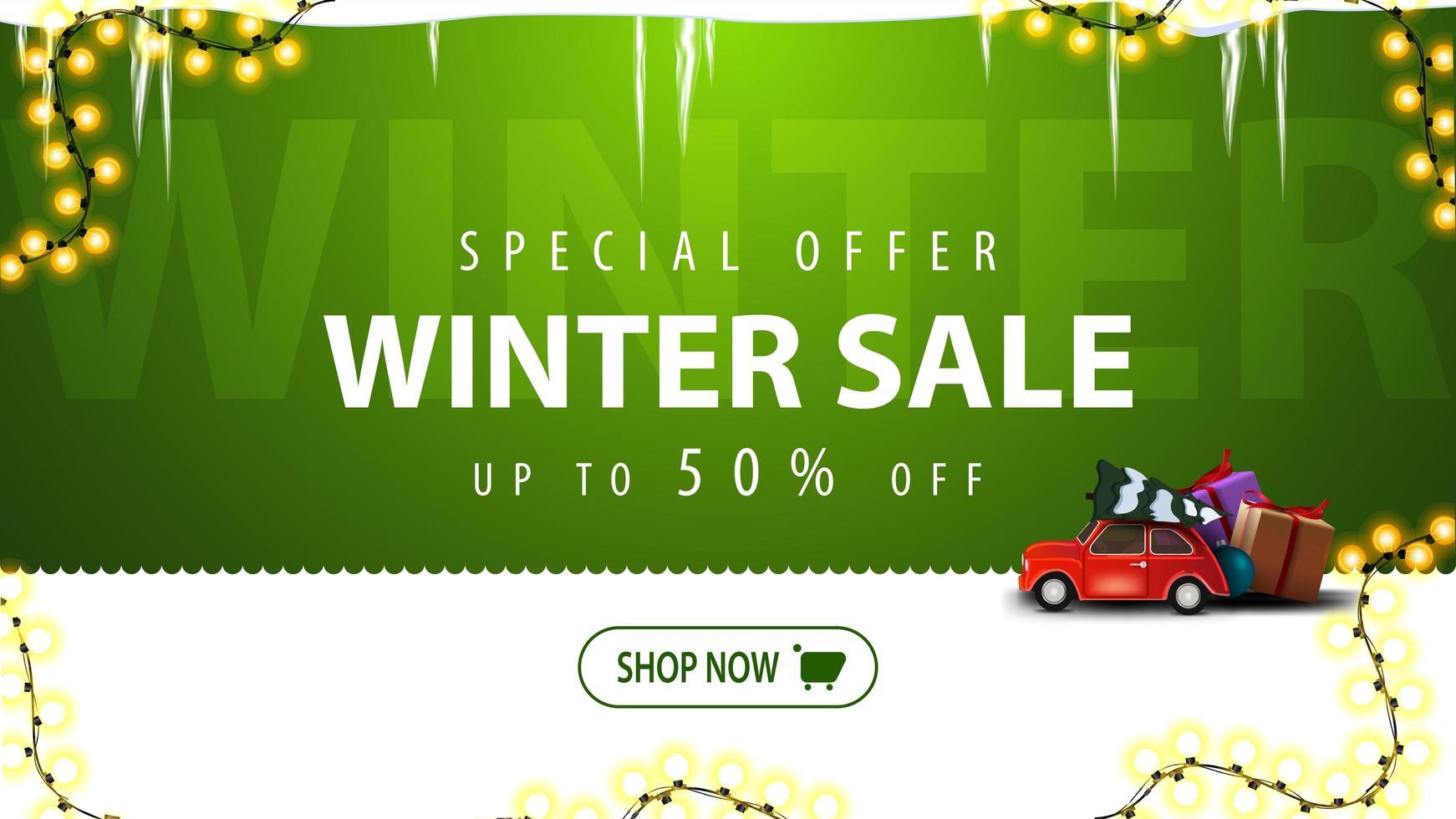 soldes d'hiver, bannière de réduction verte avec bouton vecteur