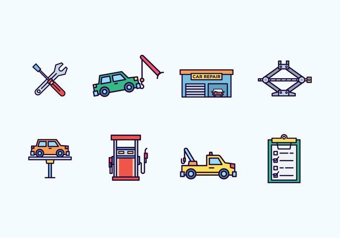 Icônes de réparation de voiture vecteur