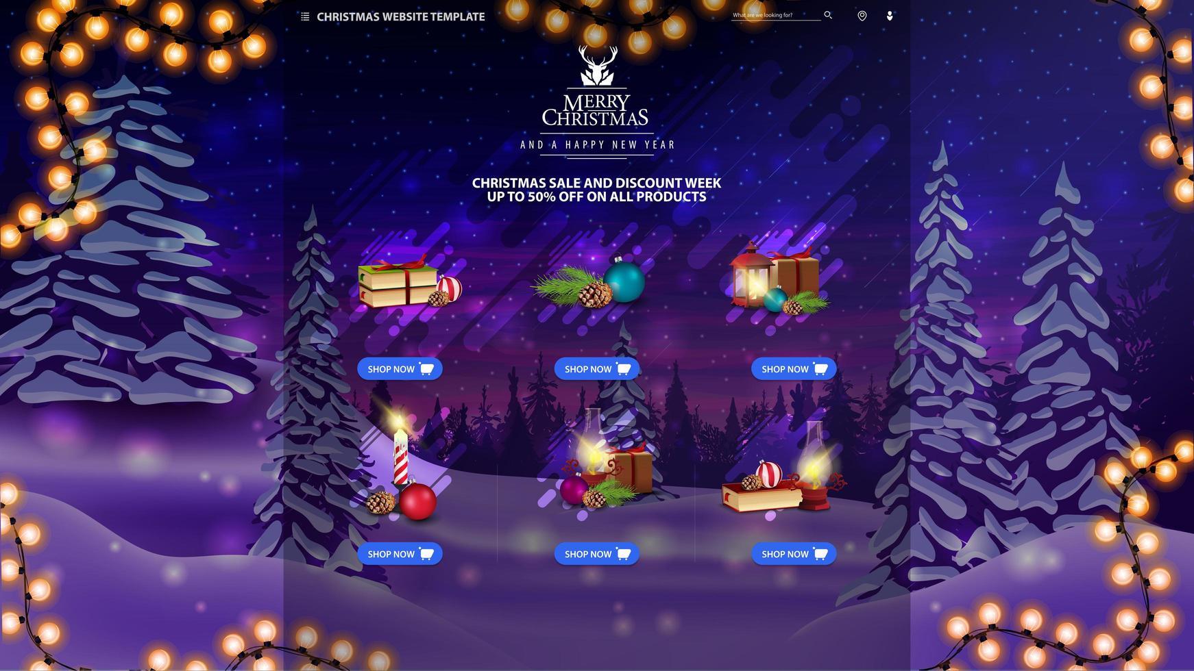 modèle de site Web de Noël avec des marchandises vecteur