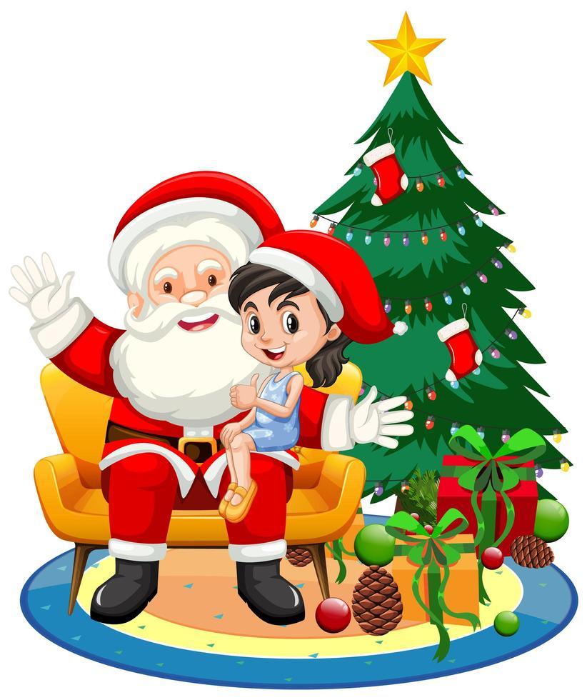 Père Noël assis sur ses genoux avec jolie fille sur fond blanc vecteur