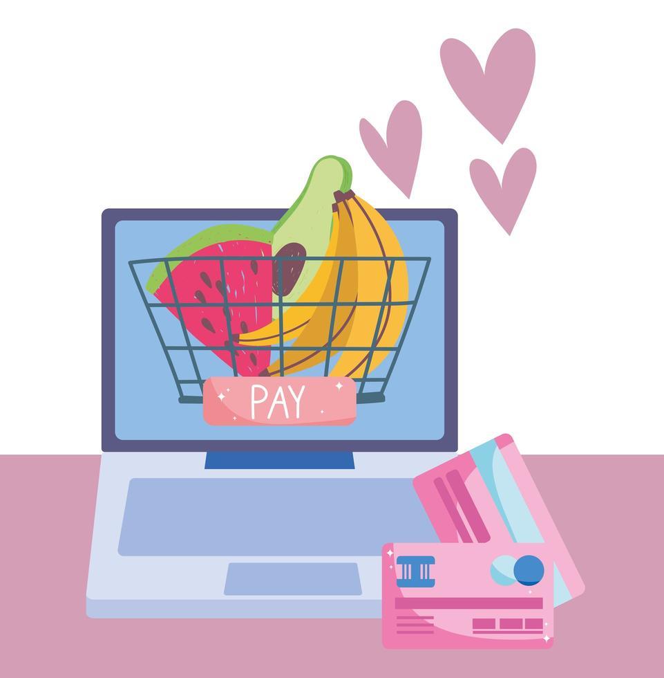 marché en ligne via ordinateur avec carte de crédit vecteur