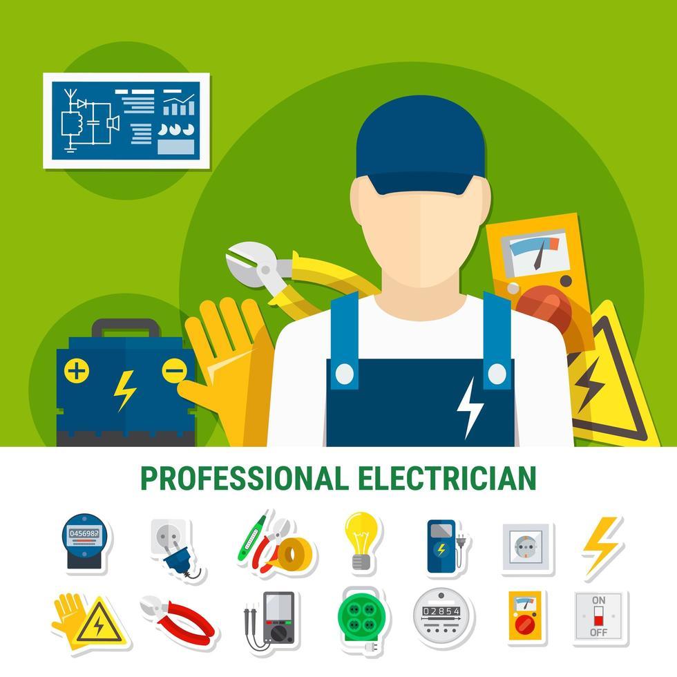 jeu d'icônes d'électricien professionnel vecteur