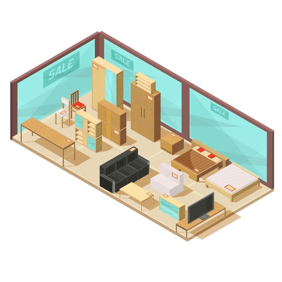 composition isométrique de magasin de meubles vecteur