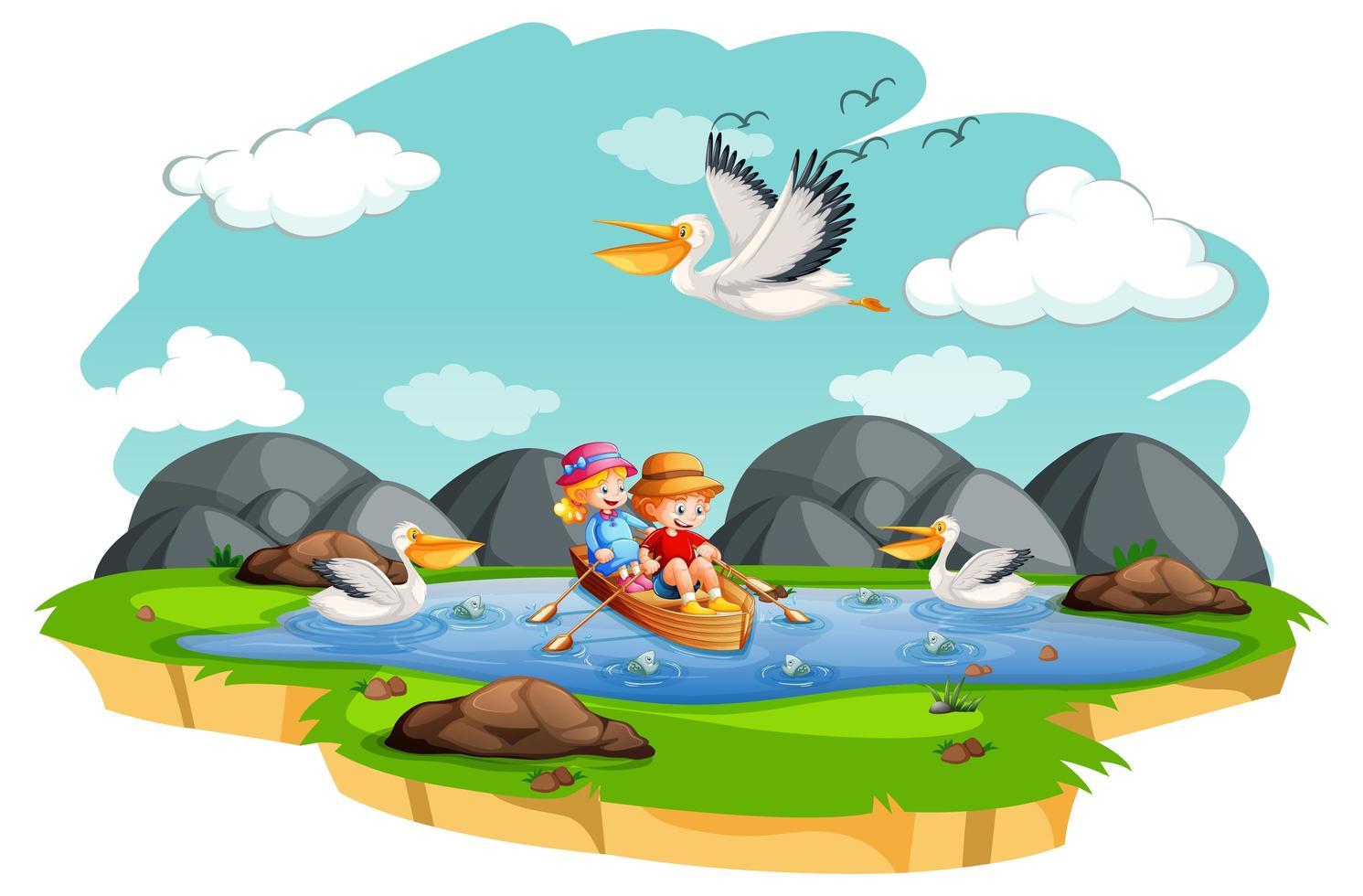 enfants ramer le bateau dans la scène du ruisseau sur fond blanc vecteur