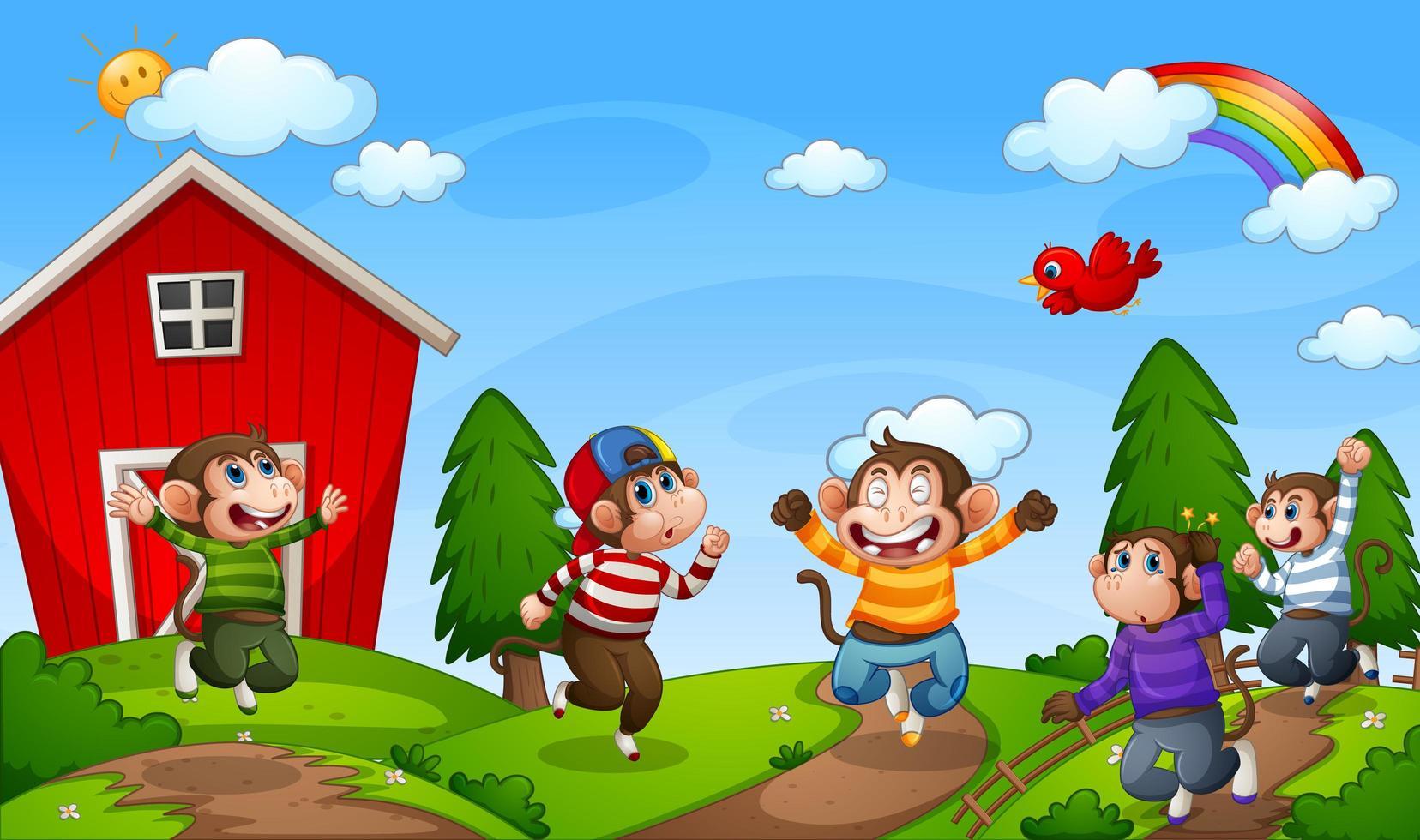 cinq petits singes sautant dans la scène de la ferme vecteur