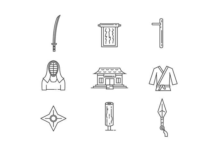 Aperçu des icônes d'objets d'arts martiaux vecteur