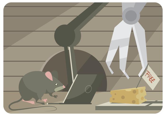 Une souris tente de pirater un piège à souris avec un ordinateur portable et un robot vecteur