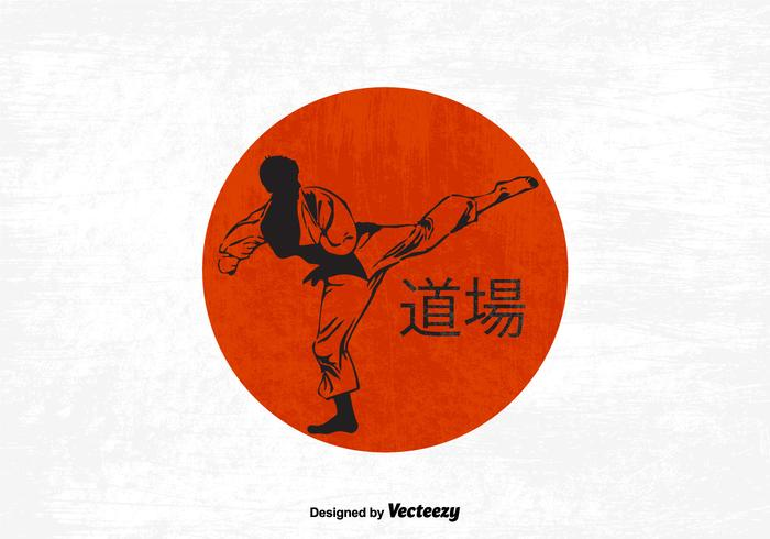 Silhouette d'un Karateka faisant un coup de pied debout vecteur