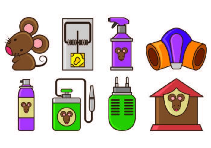 Ensemble d'icônes de trappe de souris vecteur