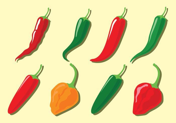 Icônes de vecteur de poivre de piment