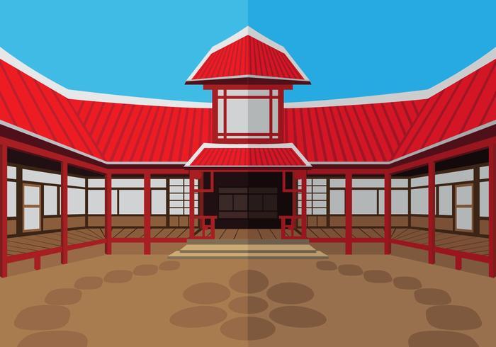 Le temple de dojo extérieur vecteur