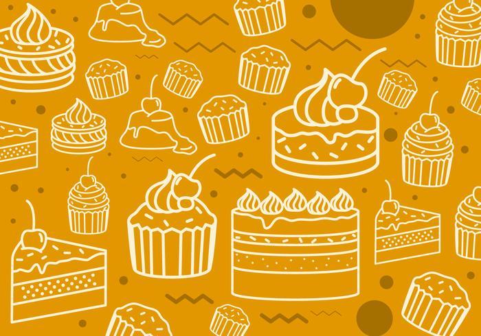 Motif des icônes de ligne de gâteaux vecteur
