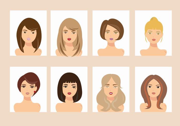 Femme avec différents styles de cheveux Vecteurs Avatar vecteur