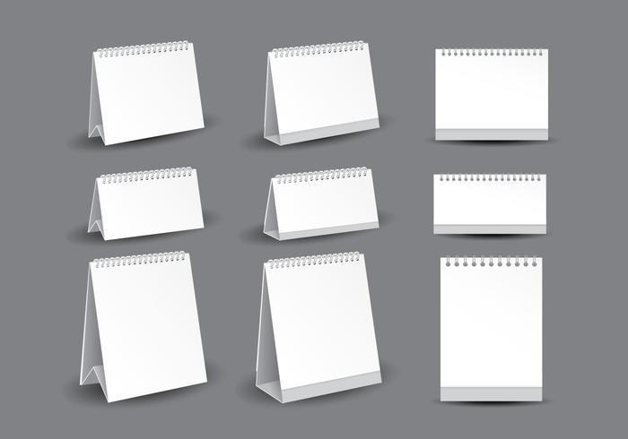 Vecteurs de modèle de calendrier de bureau vide vecteur